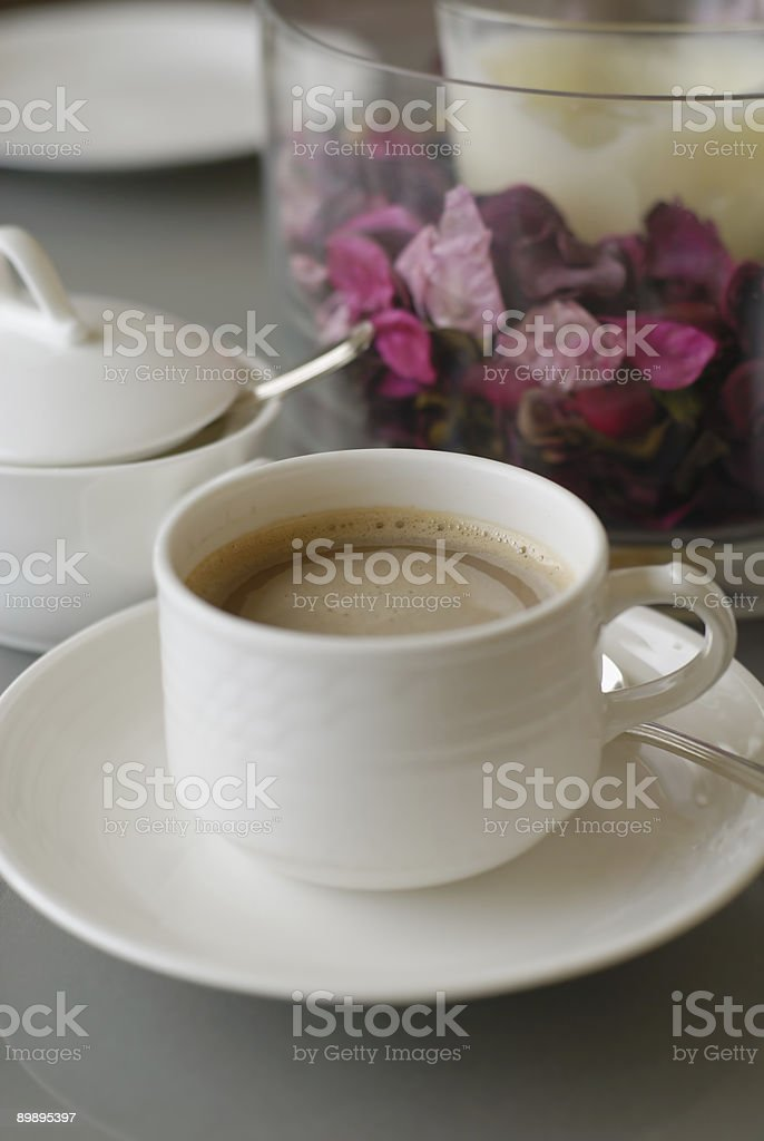 Aromatic coffee with rose petals and sugar bowl royalty-free stock photo