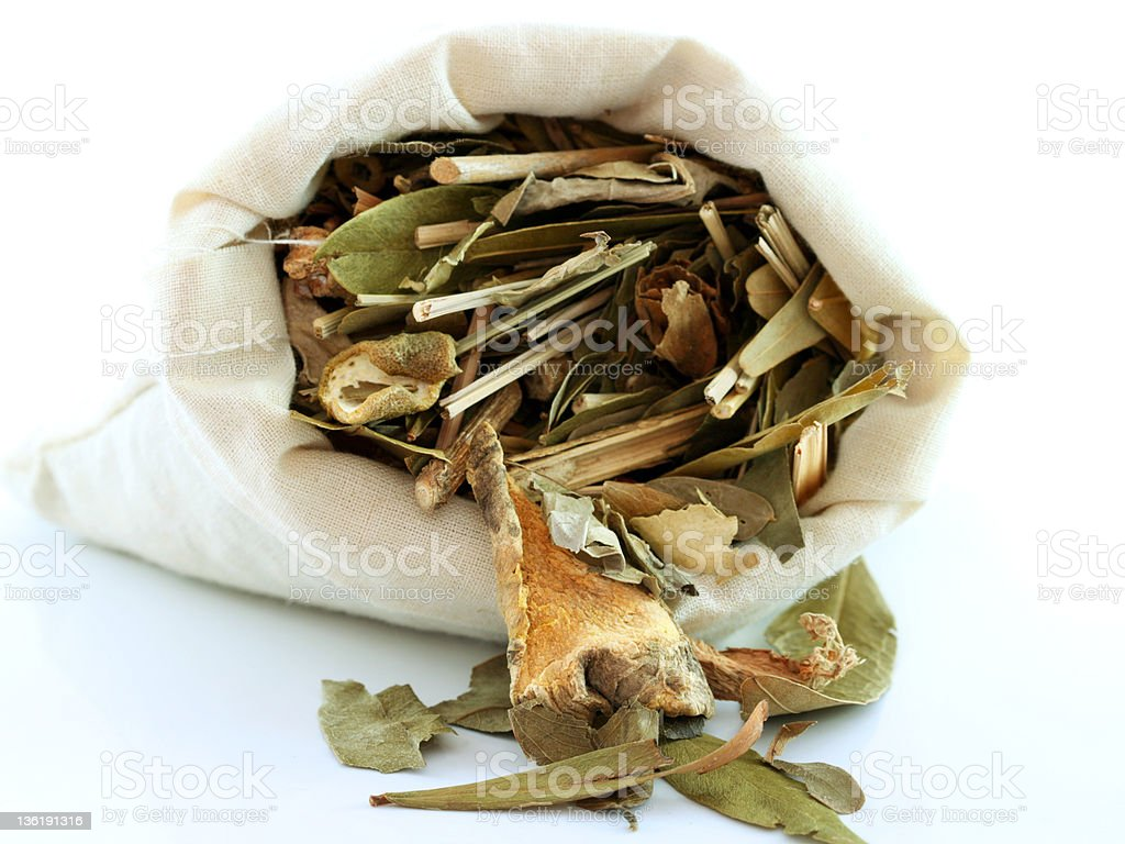 Aromatic Herbal Steam : Herbs/ tea in white cotton bag royalty-free stock photo