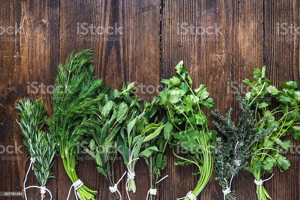 Aromatic herbs and spices from garden stock photo