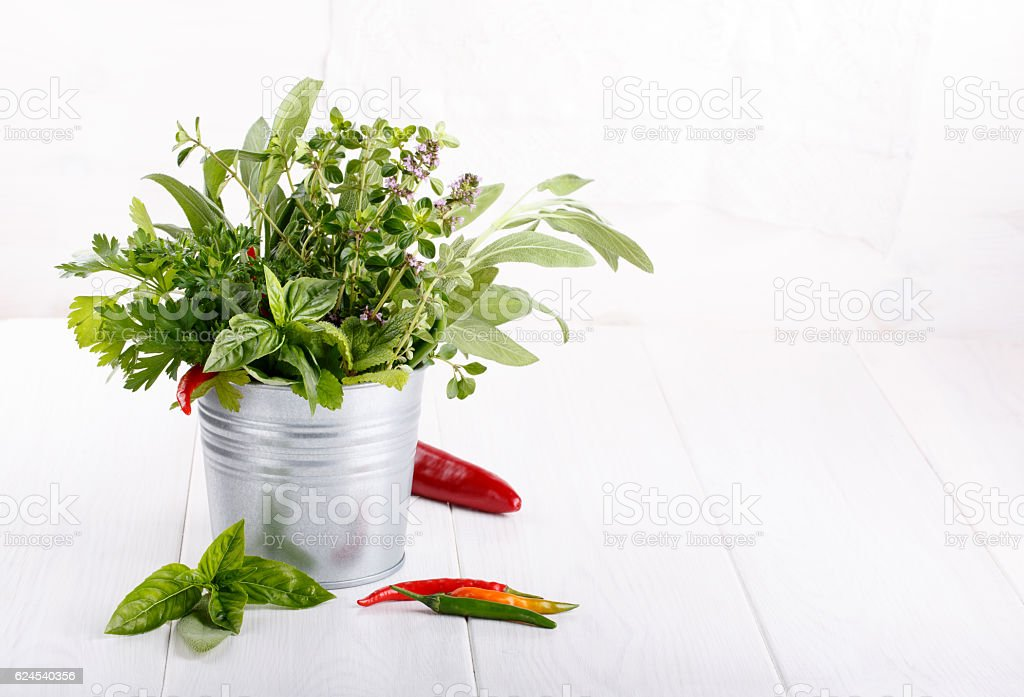 Aromatic herbs and spices from the garden stock photo