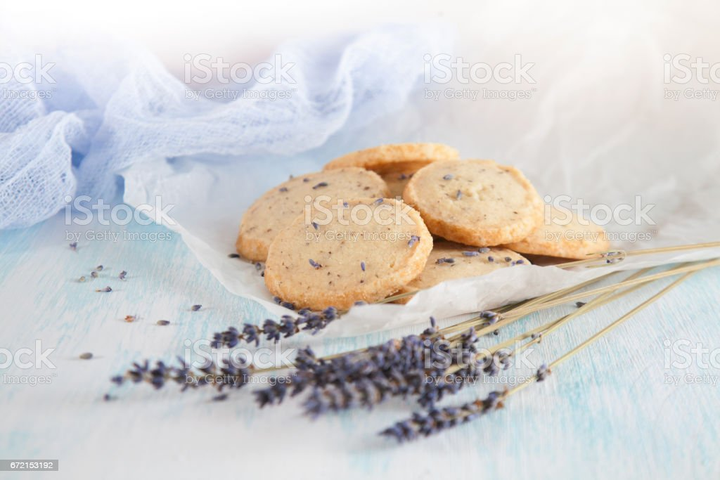 Aromatic lavender cookies. French cuisine, handmade stock photo