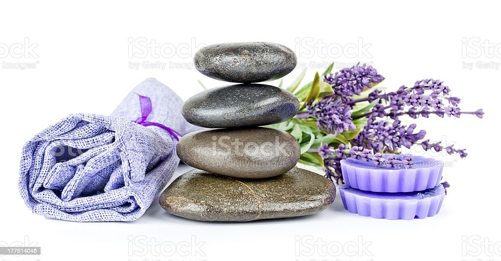 Aromatic lavender soap and pebbles royalty-free stock photo