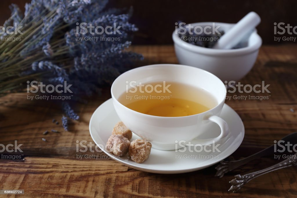 Aromatic lavender tea and bunch of dry  lavender stock photo