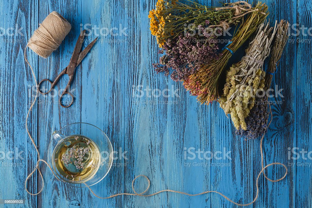 Aromatic lavender tea and bunch of lavender royalty-free stock photo