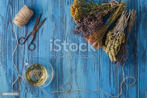 Aromatic Lavender Tea And Bunch Of Lavender Stock Photo & More Pictures of Aromatherapy