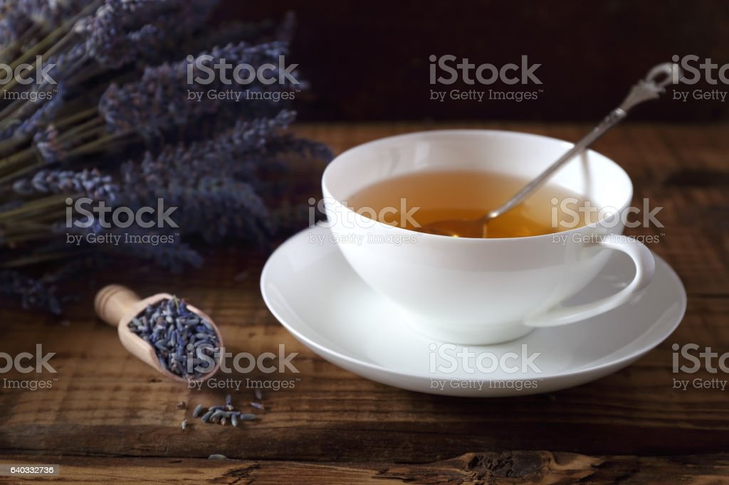 Aromatic lavender tea and bunch of lavender stock photo
