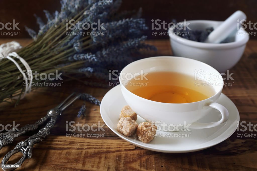 Aromatic lavender tea stock photo