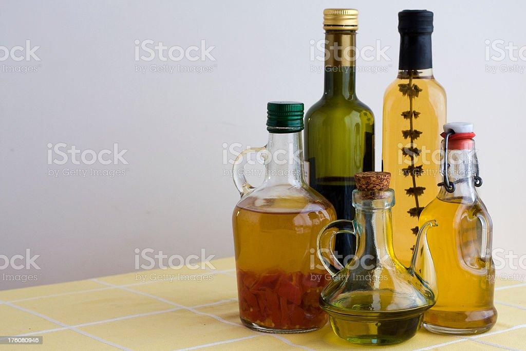 Aromatic olive oils bottles royalty-free stock photo