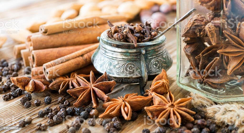 Aromatic Spices On A Rustic Background Clove Cinnamon In
