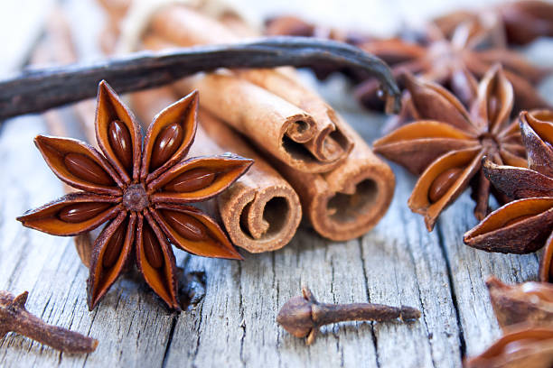 Aromatic spices Aromatic spice cinnamon sticks, star anise,cloves and vanilla stick star anise stock pictures, royalty-free photos & images