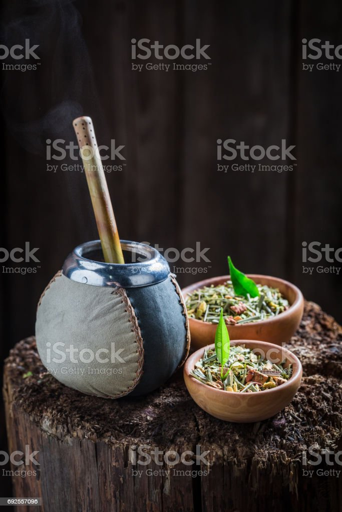 Aromatic yerba mate with bombilla and calabash stock photo