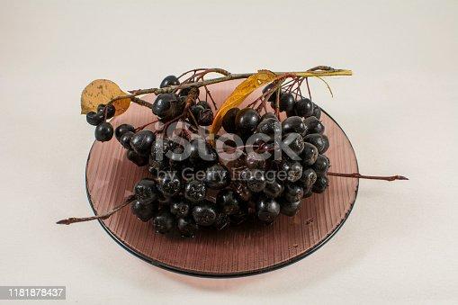 istock Aronia berries on a transparent saucer 1181878437