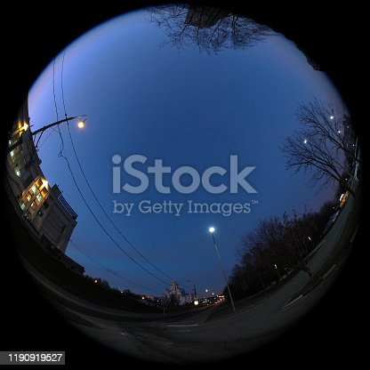 Around on Sky. Taken with a fisheye lens to give the special plate effect. The fresh air feel and clear night sky are shown on the picture.