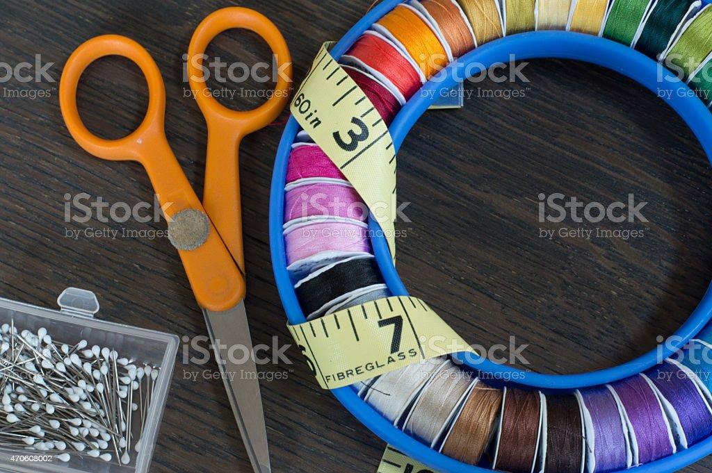 around sewing threads stock photo
