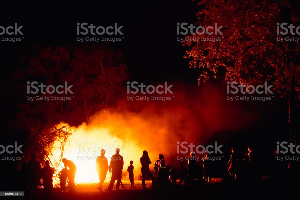 Around The Bonfire stock photo