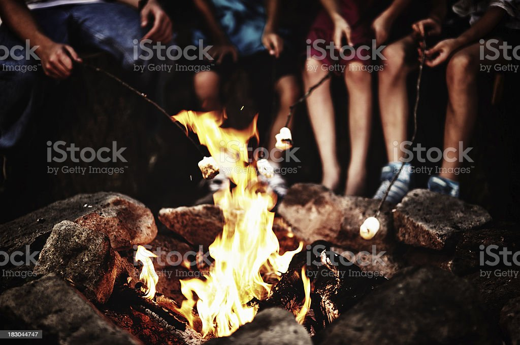 Around the campfire stock photo