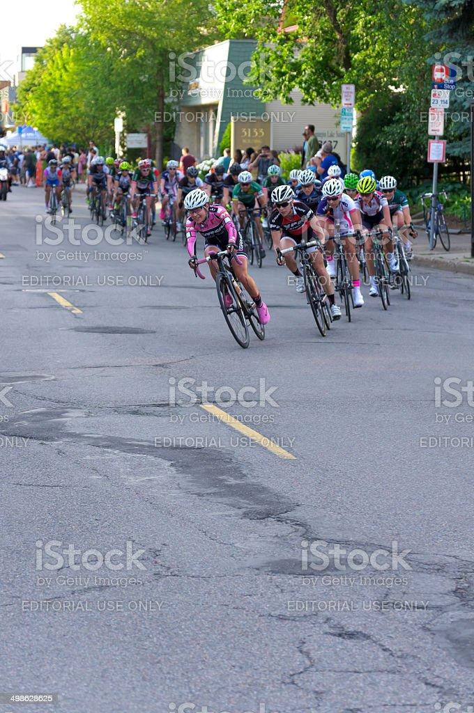 Around Turn at Womens Uptown Criterium stock photo