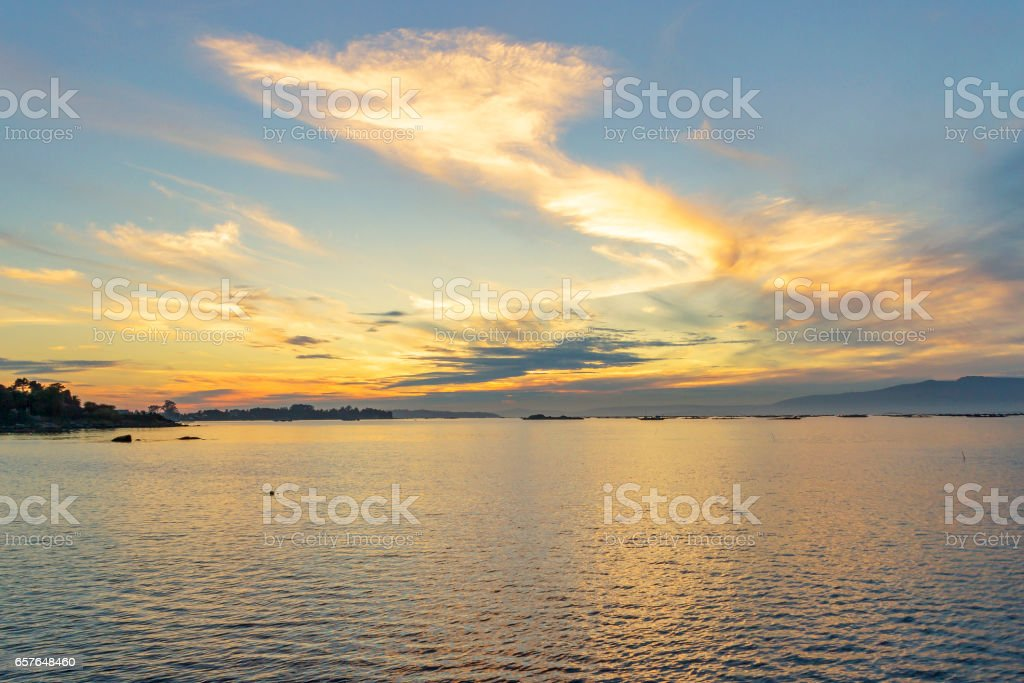 Arousa estuary at dusk royalty-free stock photo
