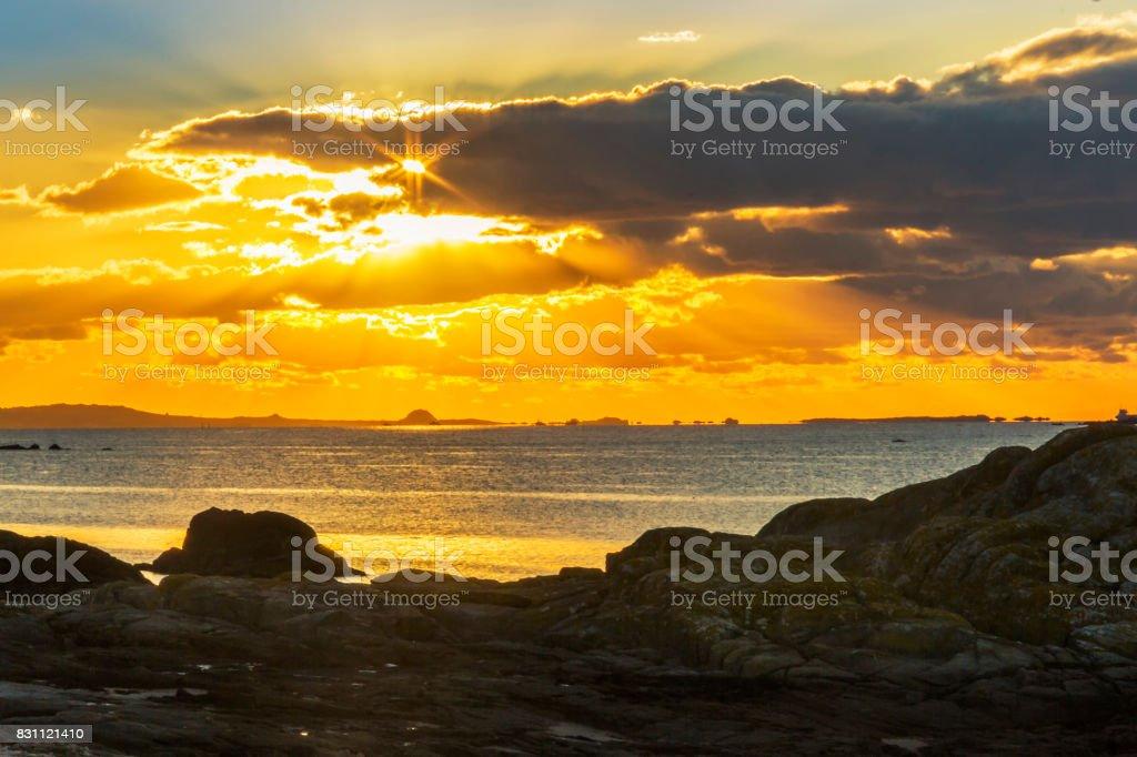 Arousa estuary at sunset royalty-free stock photo