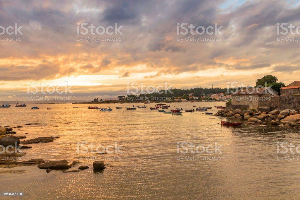 Arousa Island at cloudy sunset royalty-free stock photo