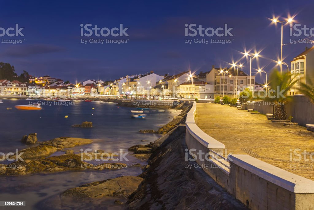 Arousa Island boardwalk at night royalty-free stock photo
