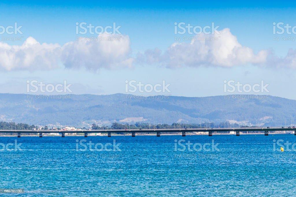 Arousa Island bridge stock photo