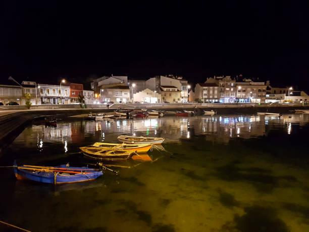 Arousa island seafront at night stock photo
