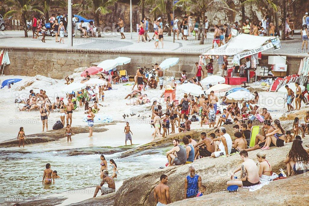 Arpoador beach full of people. stock photo