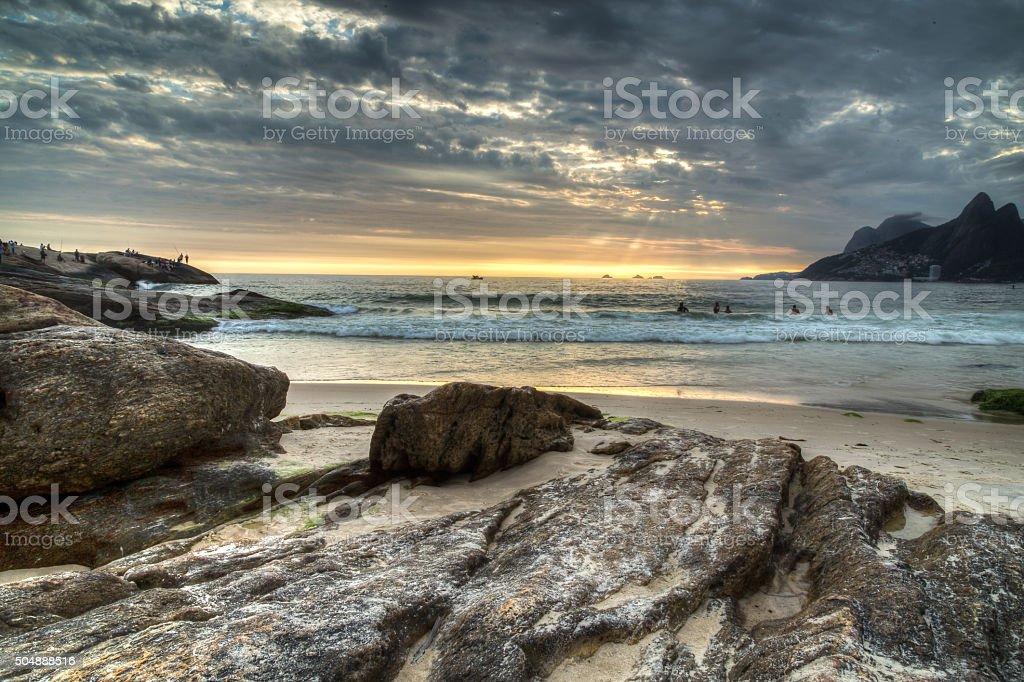 Arpoador Beach Sunset stock photo
