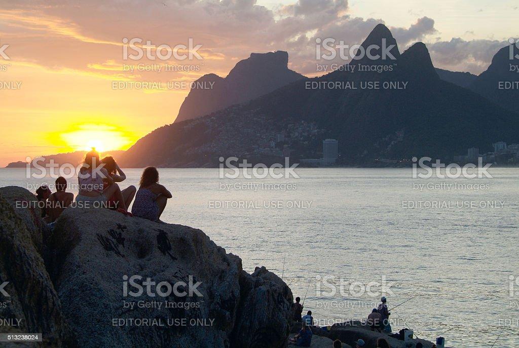 Arpoador - the Stone Sunset in Ipanema, Rio, Brazil stock photo