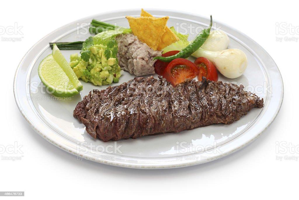 arrachera, mexican spiced skirt steak stock photo