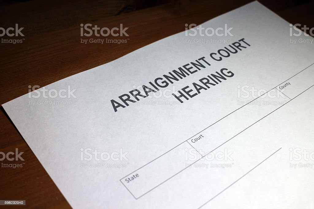 Arraignment Court Hearing Document foto royalty-free