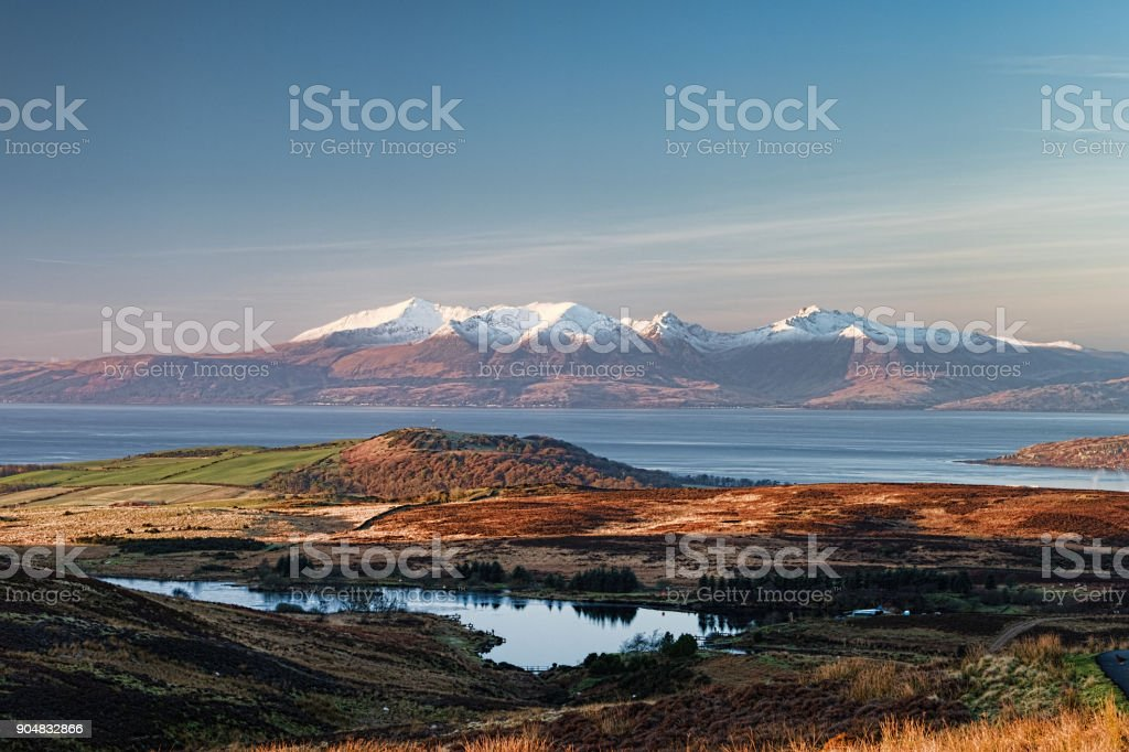 Arran Mountains in a Wintery Scotland. stock photo