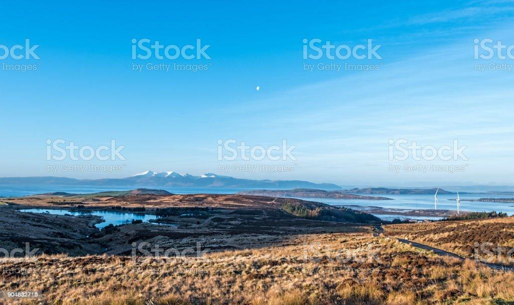 Arran Mountains in Winter Scotland stock photo