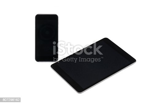 istock arranged digital tablet and smartphone with blank screens isolated on white 807298162