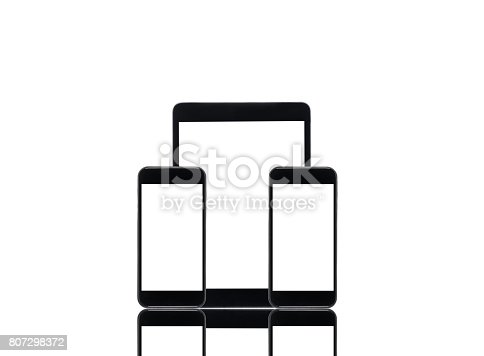 istock arranged digital tablet and smartphones with blank screens isolated on white 807298372