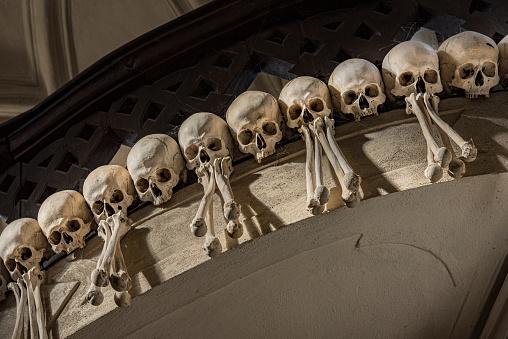 istock Arranged Human Skulls and Bones in Kostnice Church in Kutna Hora, Czech Republic. 1198724960