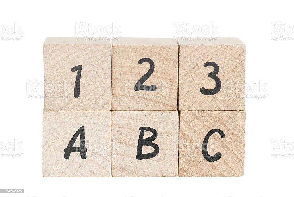 ABC 123 Arranged Using Wooden Blocks. royalty-free stock photo