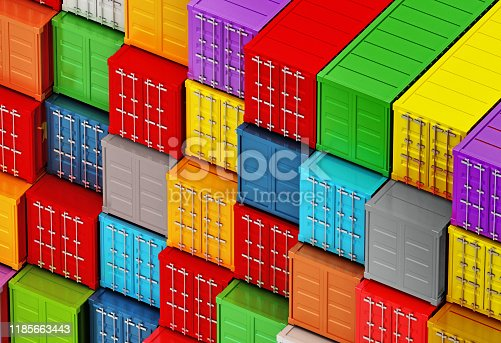 697974610 istock photo Arranged vibrant colored cargo containers 1185663443