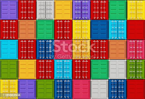 697974610 istock photo Arranged vibrant colored cargo containers 1185663504