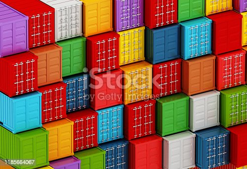 697974610istockphoto Arranged vibrant colored cargo containers 1185664067