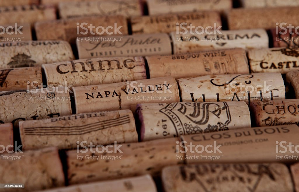 Arranged wine corks stock photo