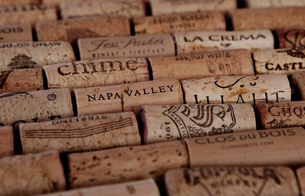 Arranged wine corks An assortment of wine corks from various wineries, mostly in California. sonoma stock pictures, royalty-free photos & images