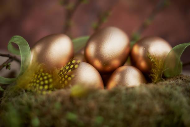Arrangement for Easter with golden eggs, still life stock photo