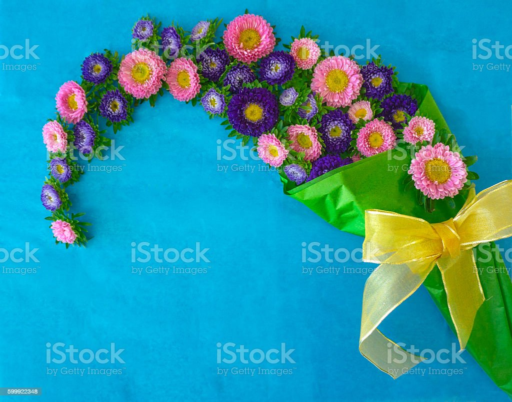 Arrangement of Aster Flowers stock photo