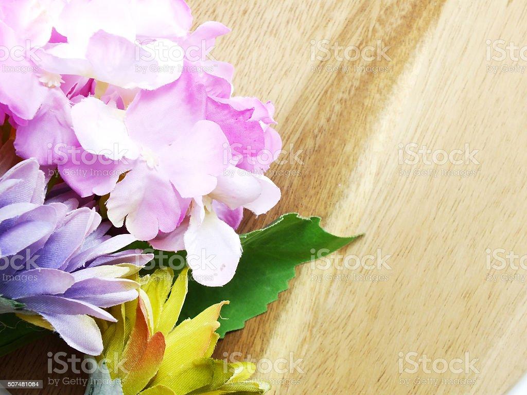Arrangement Of Beautiful Artificial Flowers Bouquet On Wooden