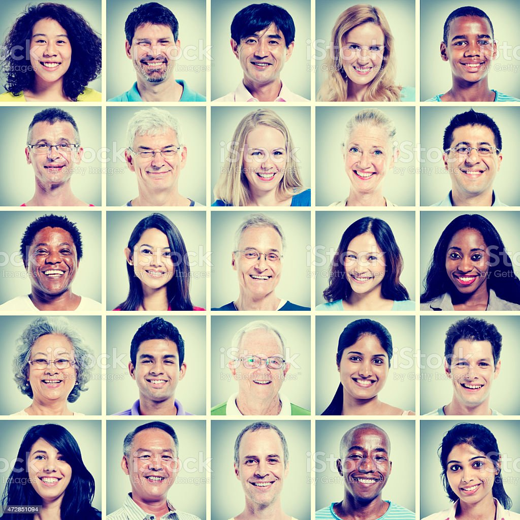 Arrangement of casual portraits of diverse people stock photo