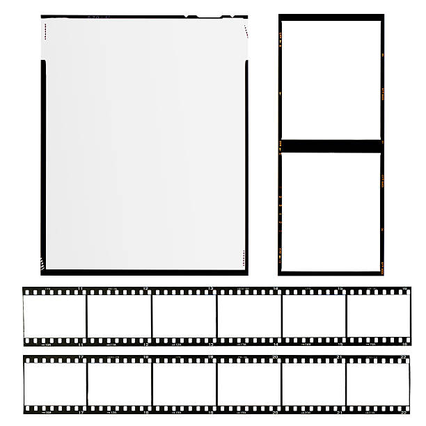 Arrangement of different formats of film set of different types of films, isolated on white film negative stock pictures, royalty-free photos & images
