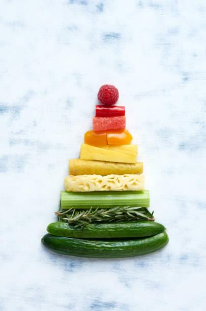 anordnung von obst und gemüse in regenbogen farbverlauf in form eines dreiecks - pyramide sammlung stock-fotos und bilder