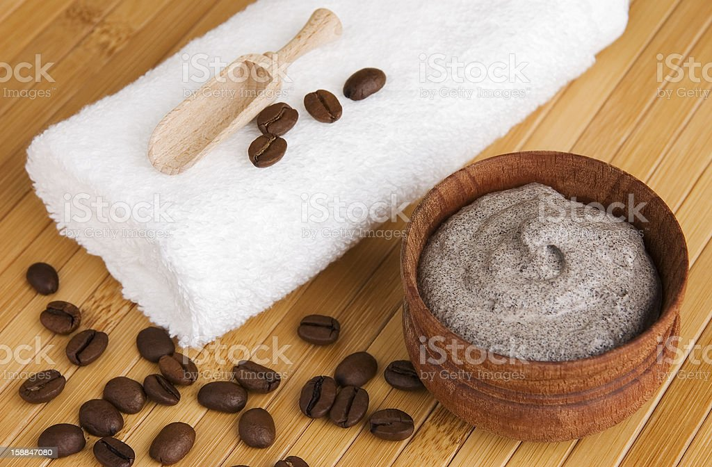 Arrangement of homemade cosmetics with a wooden background stock photo